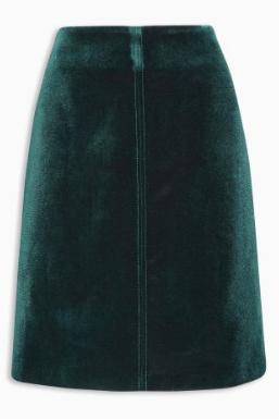 green-velvet-skirt
