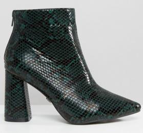 ASOS green snake skin boots