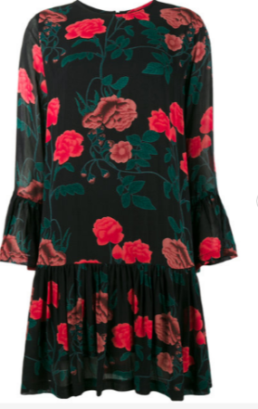 Ganni floral drop hem dress