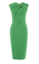 green tie knot pencil dress