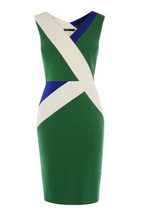 km colour block green dress