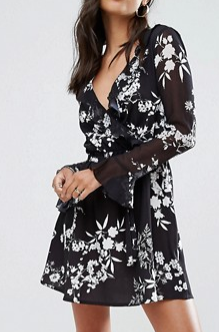 lipsy floral skater shirt dress