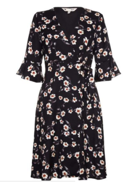 yumi wrap floral shirt dress