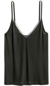 hm lace strap vest black