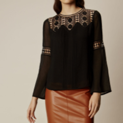 km bell sleeve apple shape top black