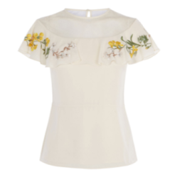km embroidered ruffle shoulder top