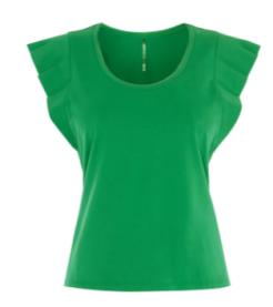 km green ruffle shoulder top