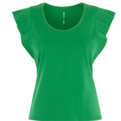 km green ruffle shoulder top