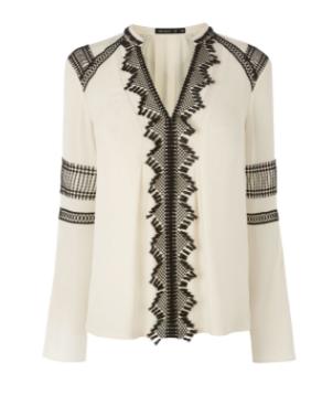km lace details ivory blouse