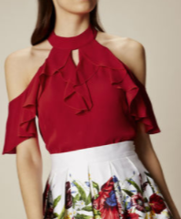 KM red ruffle off shoulder top
