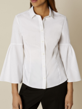 km ruffle sleev white shirt