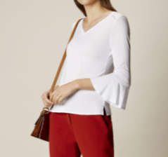 km white flute sleeve top