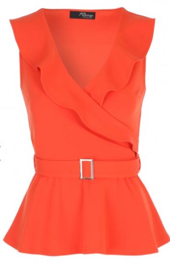 orange ruffle top jane norman