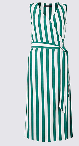 M&S green stripe dress