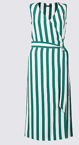 M&S green stripe dress