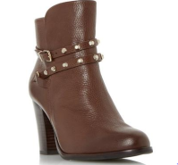 dune studded brown ankle boots