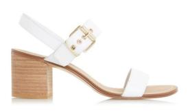 dune white block heel sandal