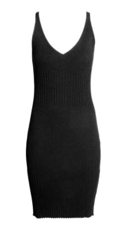 hm ribbd black dress