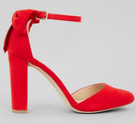 red new look strap heels