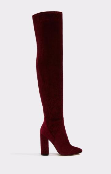 bordeaux aldo velvet boots