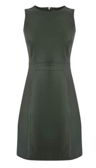 khaki leather shift dress