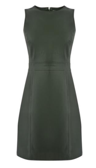 khaki leather shift dress