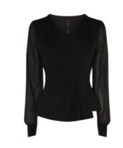 km draped black blouse