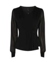 km draped black blouse