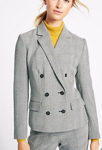 m&s check blazer grey