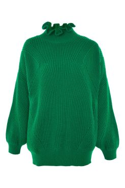 Topshop emerald green frill neck jumper
