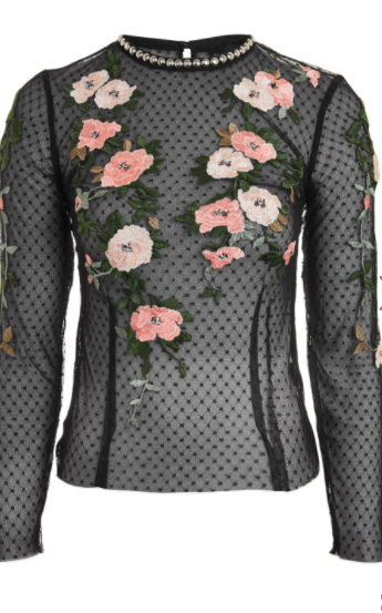 Topshop floral embroidered top