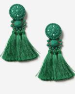 green tassle earrings