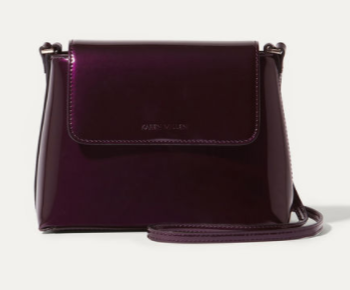 purple patent km bag