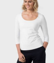 deep scoop neck white