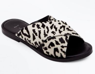new look leopard print flat sandals