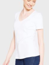 white relaxed vneck T