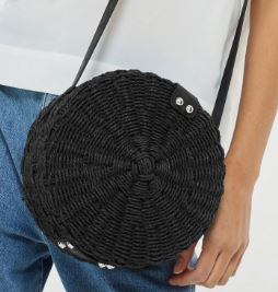 bla k straw circle bag