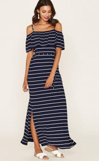 blue stripe off shoulder oasis