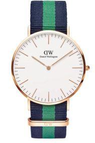 daniel wellingotn green stripe watch