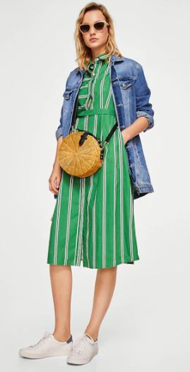 mango green stripe dress outfit