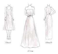 rectangle wedding gowns