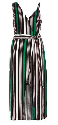 RI stripe green b;ack dress