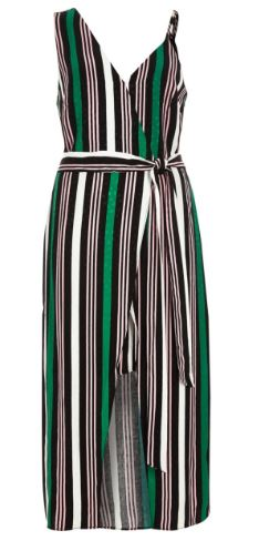 RI stripe green b;ack dress