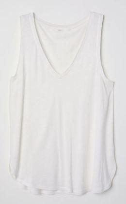 white vneck vest hm